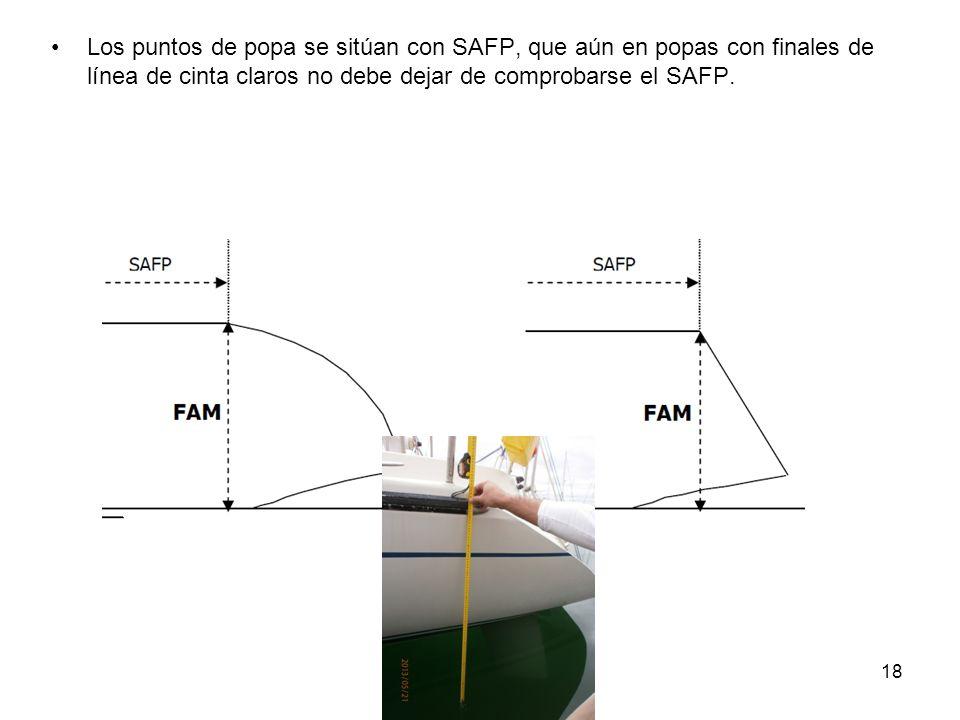 18 Los puntos de popa se sitúan con SAFP, que aún en popas con finales de línea de cinta claros no debe dejar de comprobarse el SAFP.