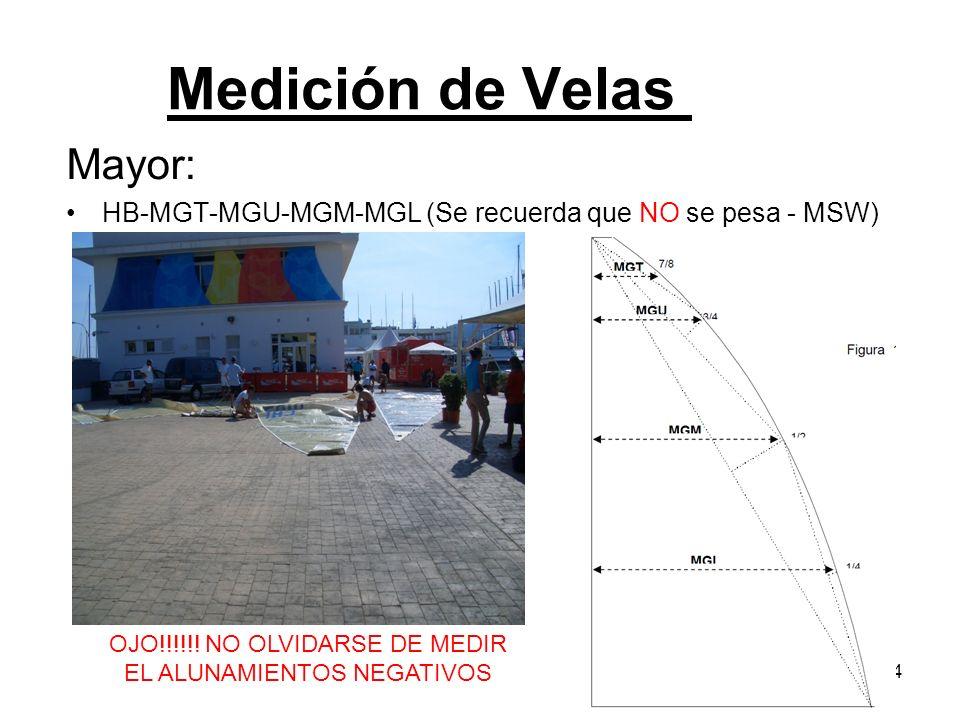 Mayor: HB-MGT-MGU-MGM-MGL (Se recuerda que NO se pesa - MSW) 4 OJO!!!!!! NO OLVIDARSE DE MEDIR EL ALUNAMIENTOS NEGATIVOS Medición de Velas