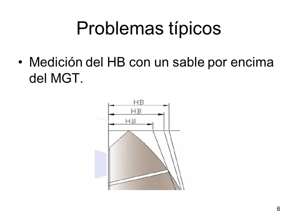 Problemas típicos Medición del HB con un sable por encima del MGT. 6
