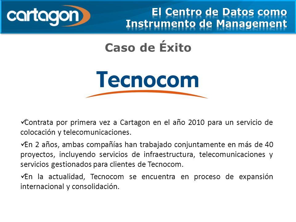 Caso de Éxito Contrata por primera vez a Cartagon en el año 2010 para un servicio de colocación y telecomunicaciones. En 2 años, ambas compañías han t