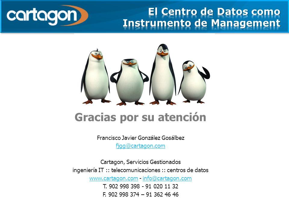 Gracias por su atención Francisco Javier González Gosálbez fjgg@cartagon.com Cartagon, Servicios Gestionados ingeniería IT :: telecomunicaciones :: centros de datos www.cartagon.comwww.cartagon.com - info@cartagon.cominfo@cartagon.com T.