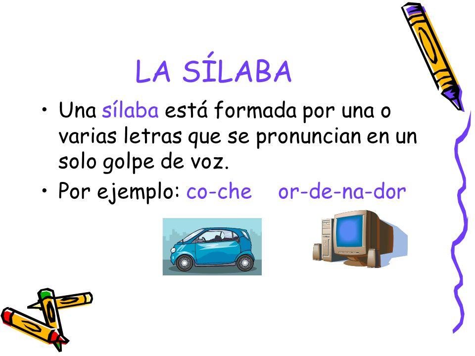 LA SÍLABA Una sílaba está formada por una o varias letras que se pronuncian en un solo golpe de voz. Por ejemplo: co-cheor-de-na-dor