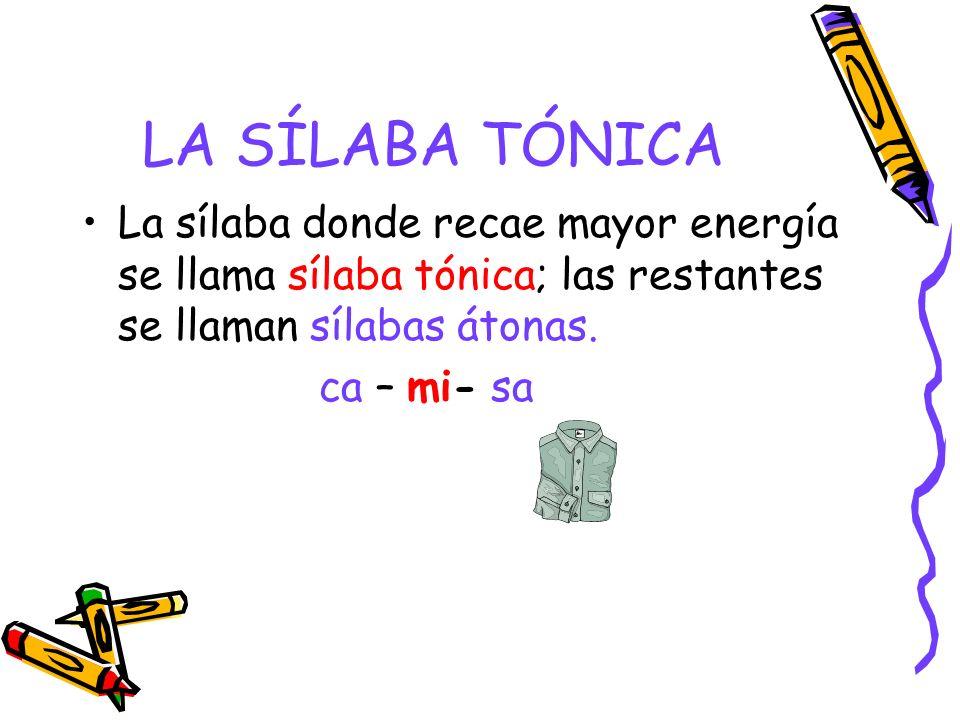 LA SÍLABA TÓNICA La sílaba donde recae mayor energía se llama sílaba tónica; las restantes se llaman sílabas átonas. ca – mi- sa