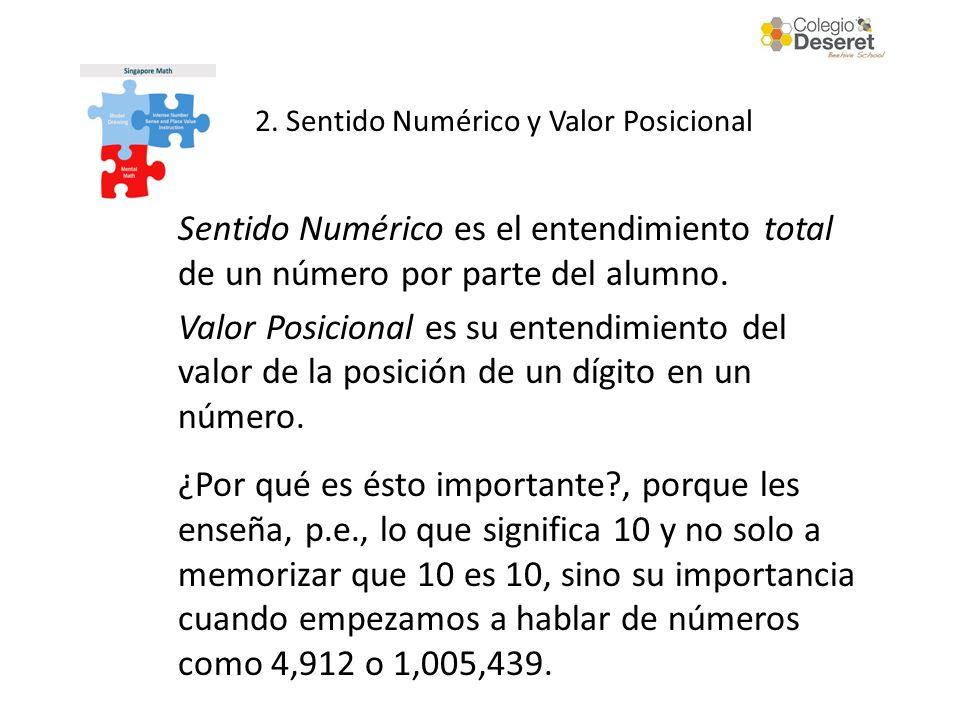 Sentido Numérico es el entendimiento total de un número por parte del alumno. Valor Posicional es su entendimiento del valor de la posición de un dígi