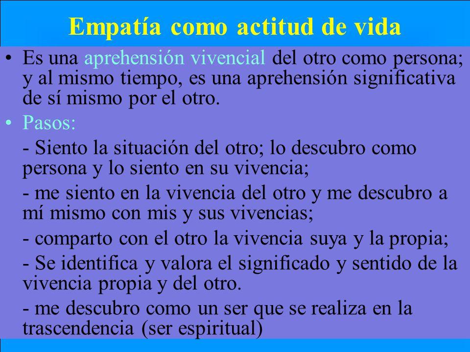 Empatía como actitud de vida Es una aprehensión vivencial del otro como persona; y al mismo tiempo, es una aprehensión significativa de sí mismo por e