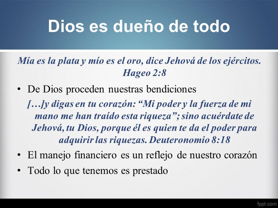 Mía es la plata y mío es el oro, dice Jehová de los ejércitos. Hageo 2:8 De Dios proceden nuestras bendiciones […]y digas en tu corazón: Mi poder y la
