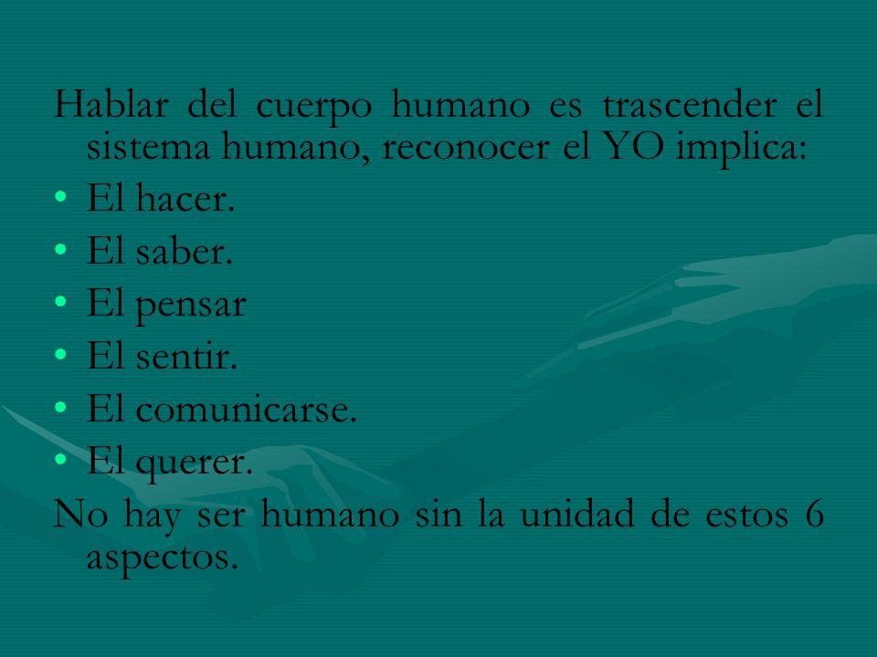 Hablar del cuerpo humano es trascender el sistema humano, reconocer el YO implica: El hacer. El saber. El pensar El sentir. El comunicarse. El querer.