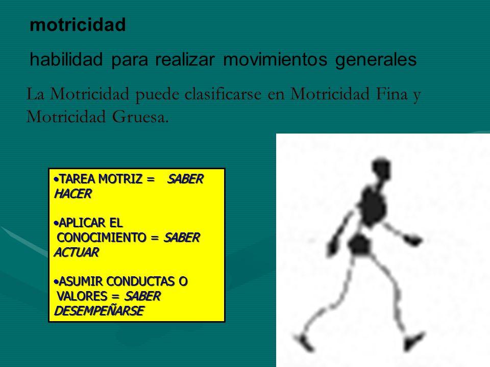motricidad habilidad para realizar movimientos generales La Motricidad puede clasificarse en Motricidad Fina y Motricidad Gruesa. TAREA MOTRIZ = SABER