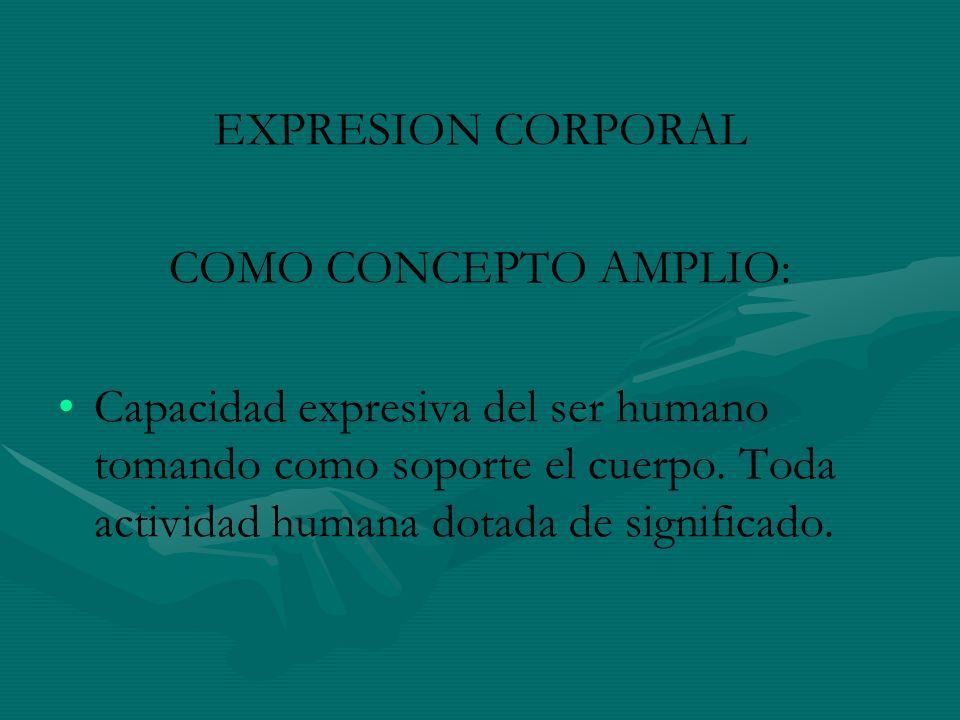 EXPRESION CORPORAL COMO CONCEPTO AMPLIO: Capacidad expresiva del ser humano tomando como soporte el cuerpo. Toda actividad humana dotada de significad