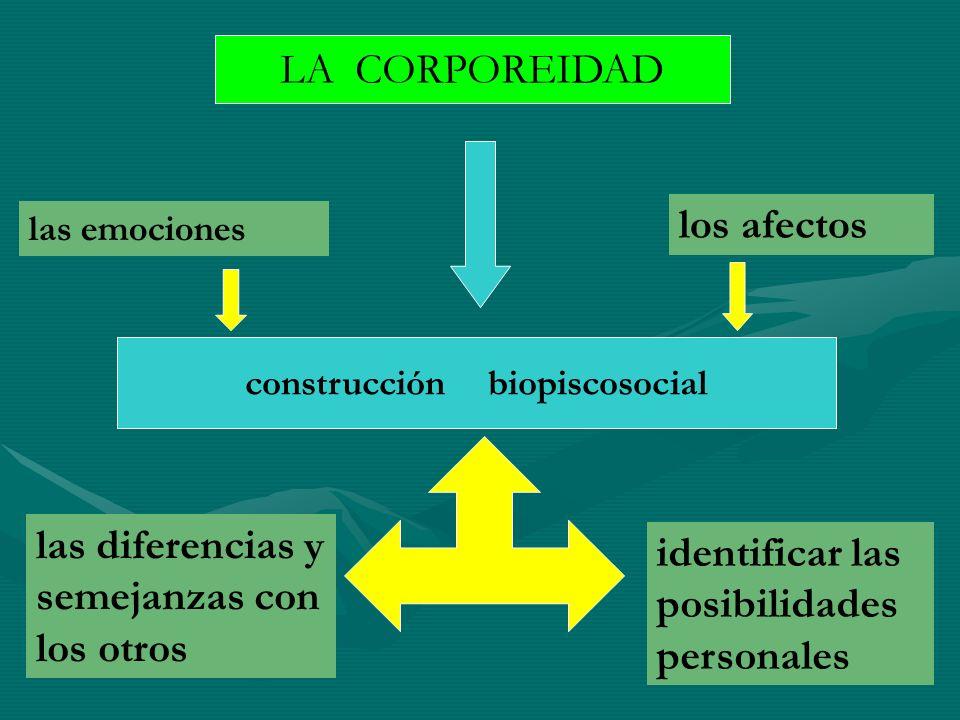 LA CORPOREIDAD construcción biopiscosocial las emociones los afectos identificar las posibilidades personales las diferencias y semejanzas con los otr