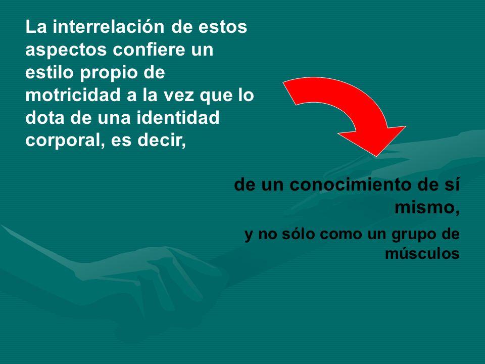 La interrelación de estos aspectos confiere un estilo propio de motricidad a la vez que lo dota de una identidad corporal, es decir, de un conocimient