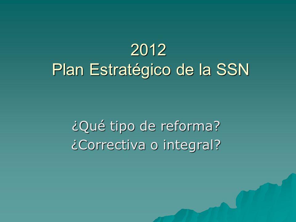 2012 Plan Estratégico de la SSN ¿Qué tipo de reforma? ¿Correctiva o integral?