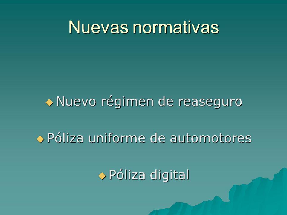 Nuevas normativas Nuevo régimen de reaseguro Nuevo régimen de reaseguro Póliza uniforme de automotores Póliza uniforme de automotores Póliza digital P