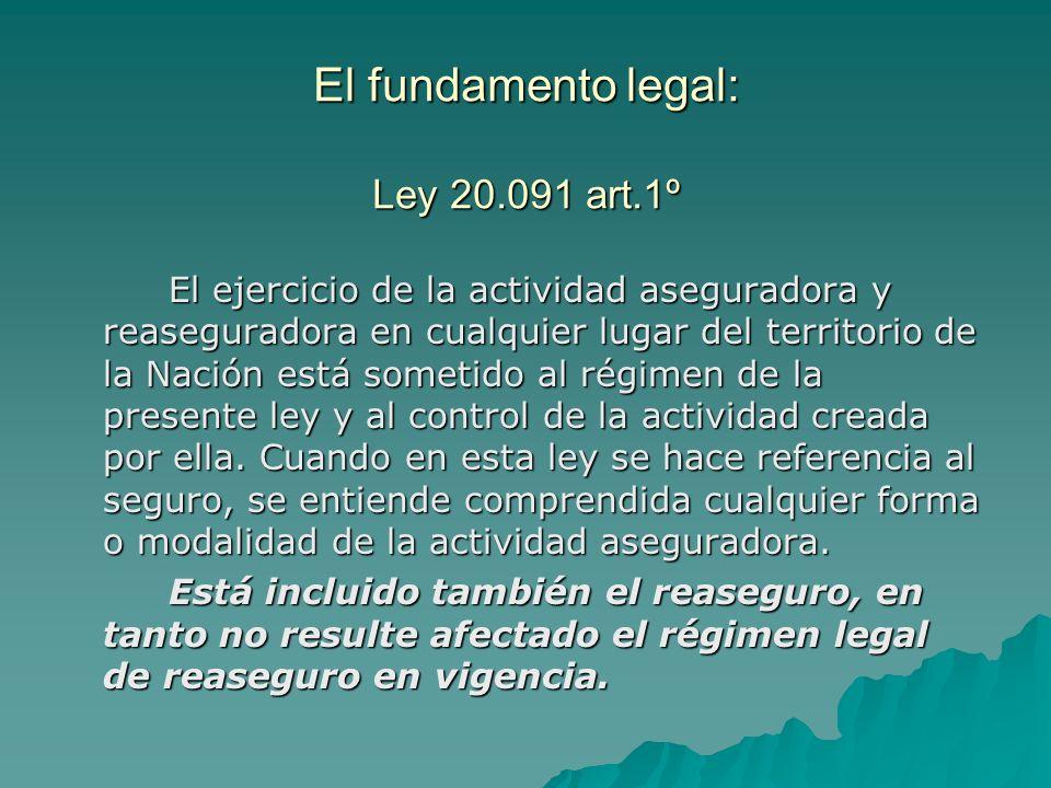 El fundamento legal: Ley 20.091 art.1º El ejercicio de la actividad aseguradora y reaseguradora en cualquier lugar del territorio de la Nación está so