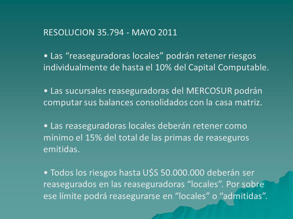RESOLUCION 35.794 - MAYO 2011 Las reaseguradoras locales podrán retener riesgos individualmente de hasta el 10% del Capital Computable. Las sucursales