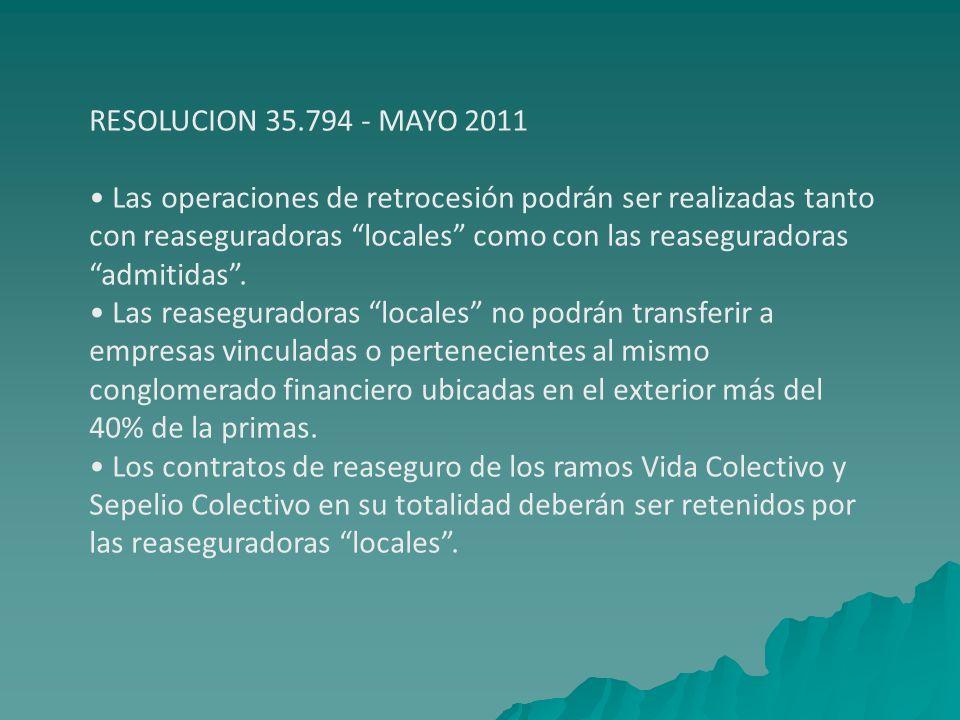 RESOLUCION 35.794 - MAYO 2011 Las operaciones de retrocesión podrán ser realizadas tanto con reaseguradoras locales como con las reaseguradoras admiti