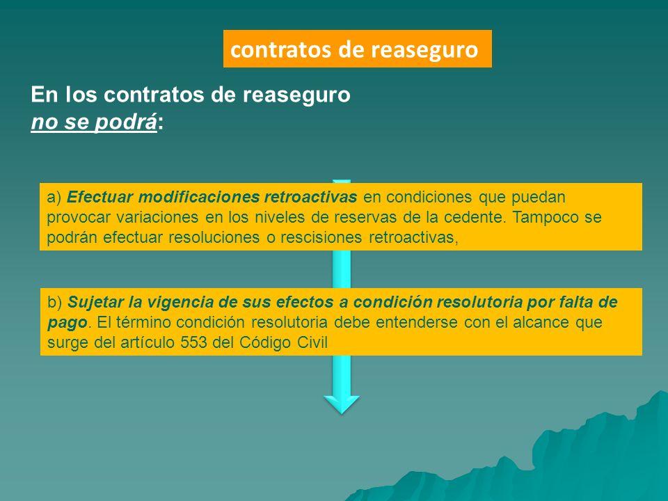 En los contratos de reaseguro no se podrá: a) Efectuar modificaciones retroactivas en condiciones que puedan provocar variaciones en los niveles de re