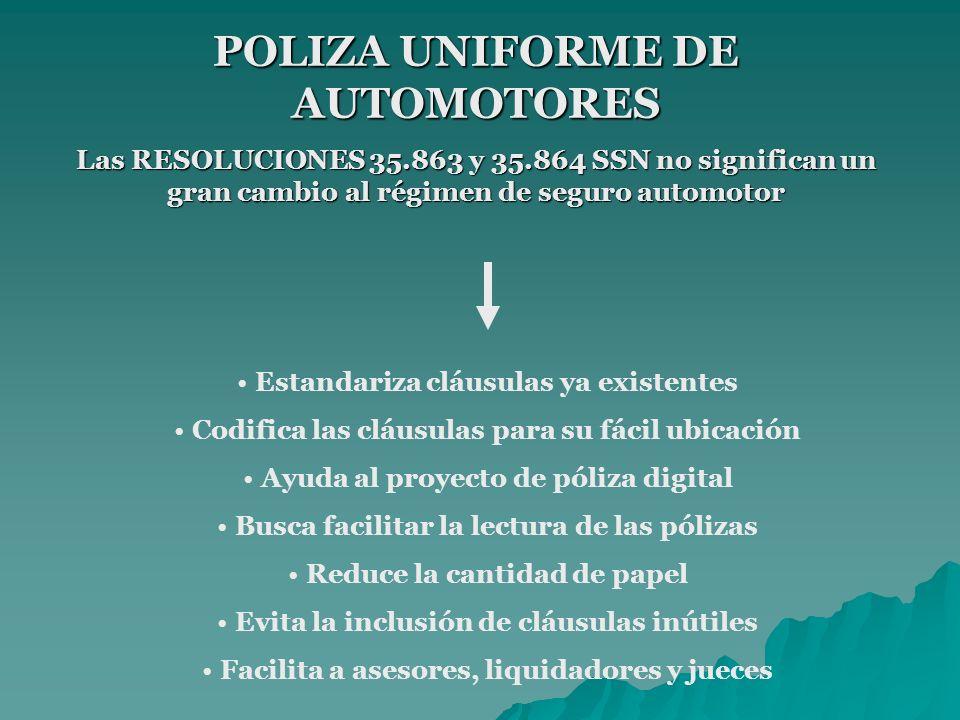 POLIZA UNIFORME DE AUTOMOTORES Las RESOLUCIONES 35.863 y 35.864 SSN no significan un gran cambio al régimen de seguro automotor Estandariza cláusulas