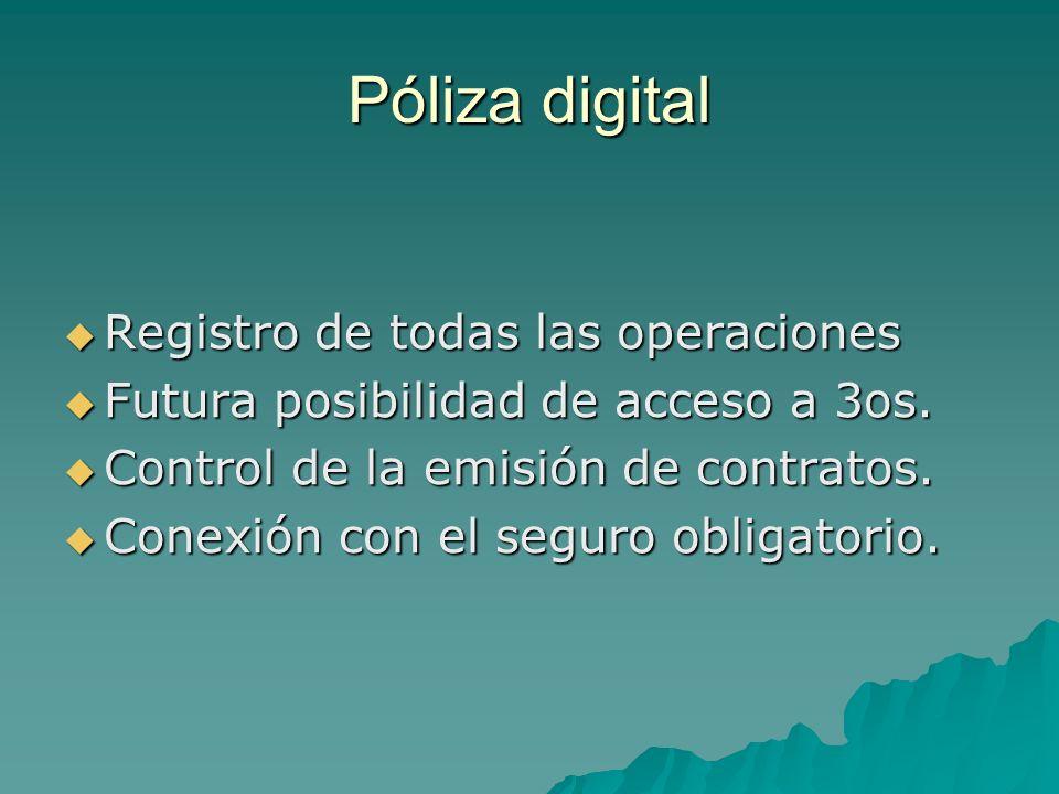 Póliza digital Registro de todas las operaciones Registro de todas las operaciones Futura posibilidad de acceso a 3os. Futura posibilidad de acceso a