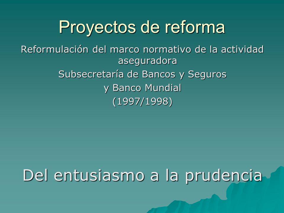 Proyectos de reforma Reformulación del marco normativo de la actividad aseguradora Subsecretaría de Bancos y Seguros y Banco Mundial (1997/1998) Del e