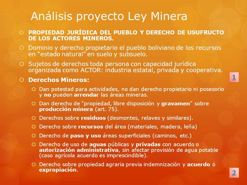 Análisis proyecto Ley Minera PROPIEDAD JURÍDICA DEL PUEBLO Y DERECHO DE USUFRUCTO DE LOS ACTORES MINEROS. Dominio y derecho propietario el pueblo boli