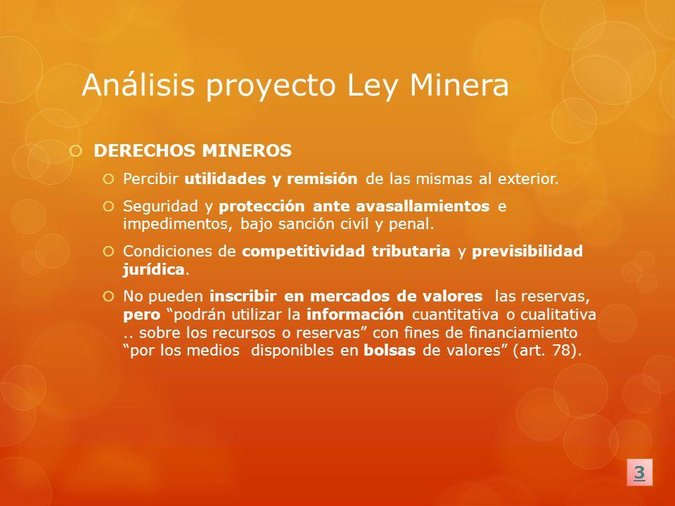 Análisis proyecto Ley Minera DERECHOS MINEROS Percibir utilidades y remisión de las mismas al exterior. Seguridad y protección ante avasallamientos e