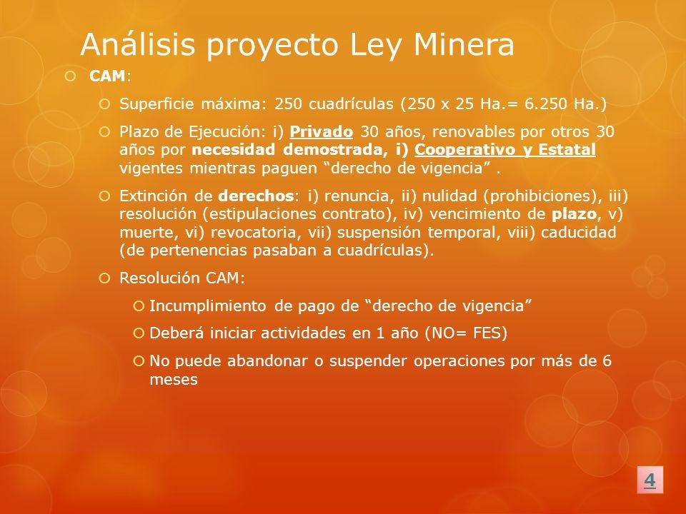 Análisis proyecto Ley Minera CAM: Superficie máxima: 250 cuadrículas (250 x 25 Ha.= 6.250 Ha.) Plazo de Ejecución: i) Privado 30 años, renovables por