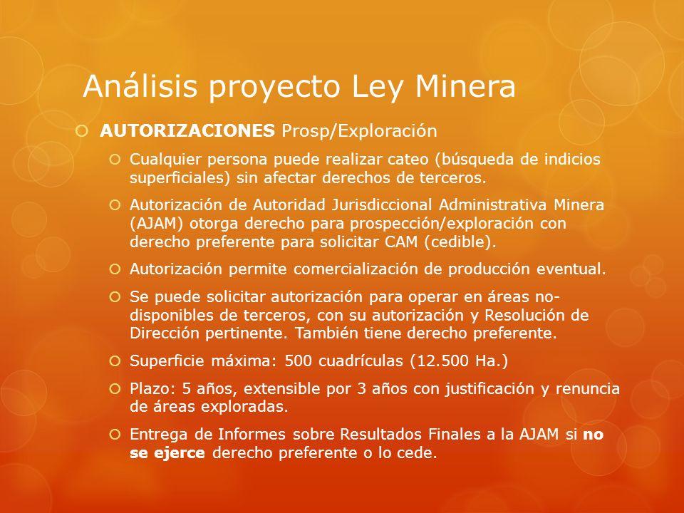 Análisis proyecto Ley Minera AUTORIZACIONES Prosp/Exploración Cualquier persona puede realizar cateo (búsqueda de indicios superficiales) sin afectar