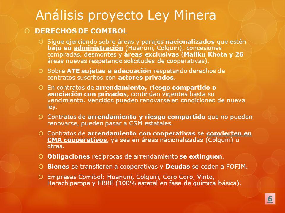 Análisis proyecto Ley Minera DERECHOS DE COMIBOL Sigue ejerciendo sobre áreas y parajes nacionalizados que estén bajo su administración (Huanuni, Colq