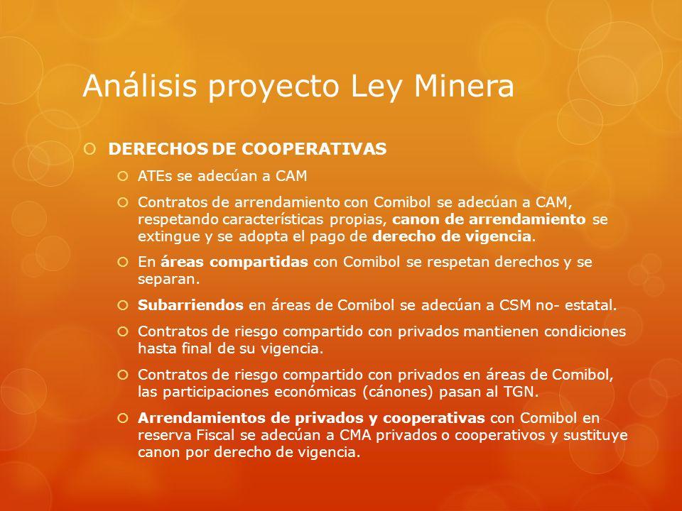 Análisis proyecto Ley Minera DERECHOS DE COOPERATIVAS ATEs se adecúan a CAM Contratos de arrendamiento con Comibol se adecúan a CAM, respetando caract