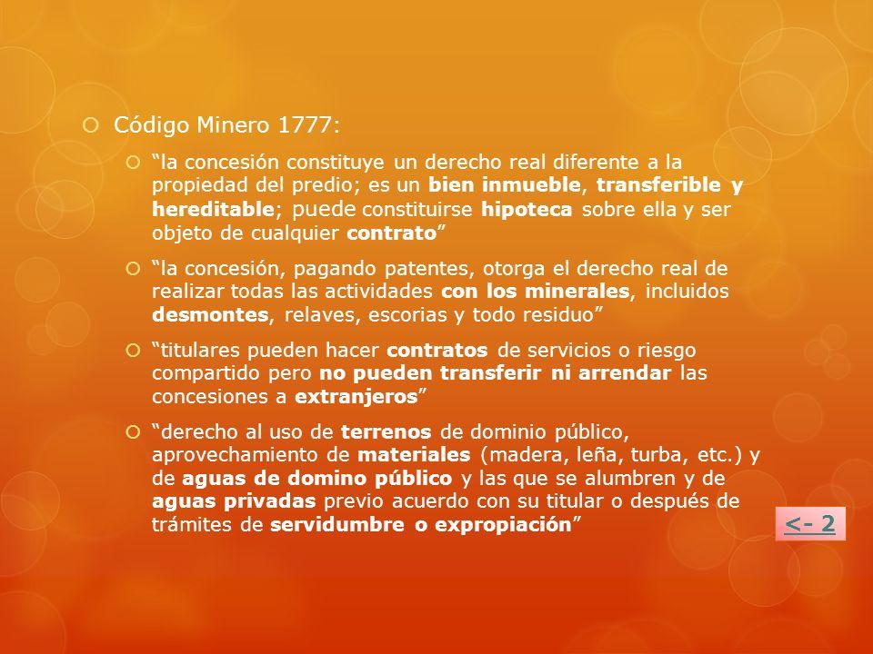 Código Minero 1777: la concesión constituye un derecho real diferente a la propiedad del predio; es un bien inmueble, transferible y hereditable; pued
