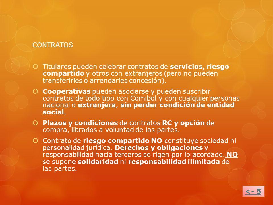 CONTRATOS Titulares pueden celebrar contratos de servicios, riesgo compartido y otros con extranjeros (pero no pueden transferirles o arrendarles conc