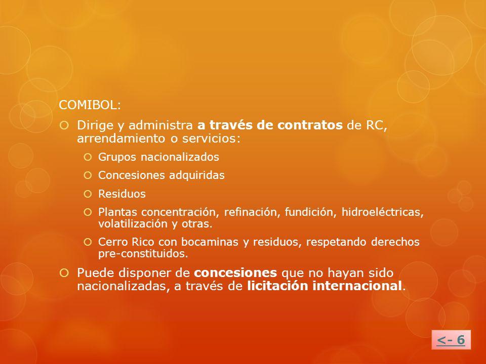 COMIBOL: Dirige y administra a través de contratos de RC, arrendamiento o servicios: Grupos nacionalizados Concesiones adquiridas Residuos Plantas con