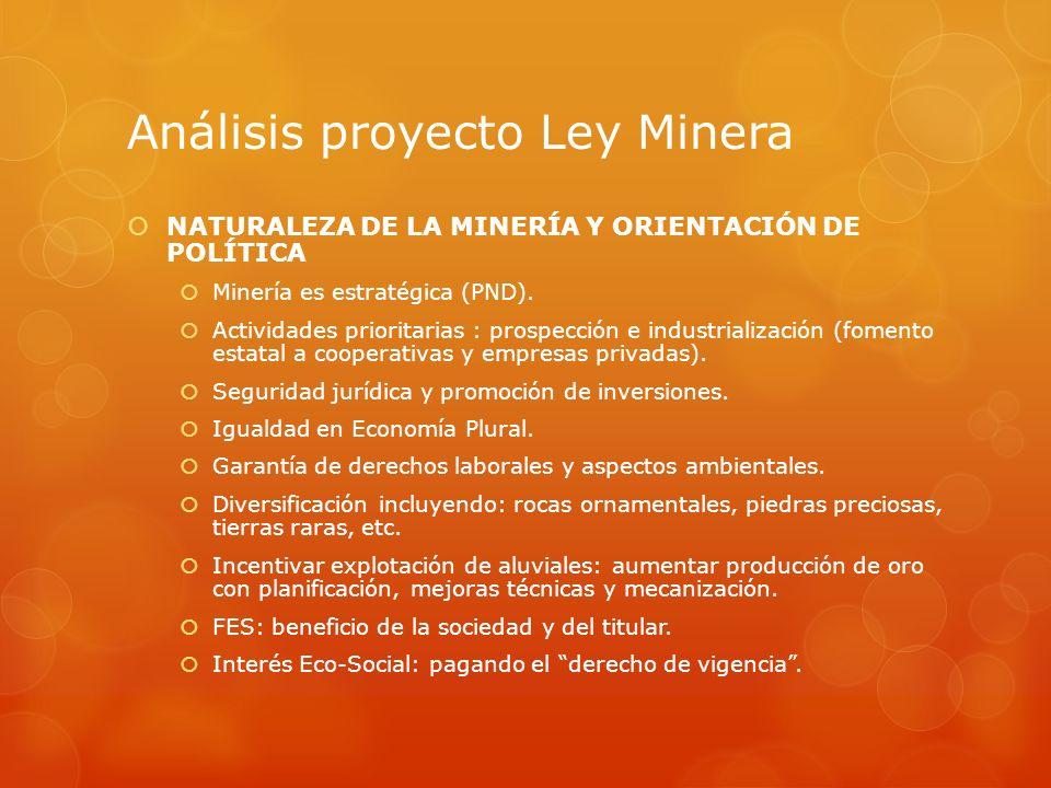 Análisis proyecto Ley Minera PUEBLOS INDIGENA ORIGINARIO CAMPESINOS No se los reconoce como sujetos de derecho minero sino se organizan bajo modalidades de actor: empresa o cooperativa.