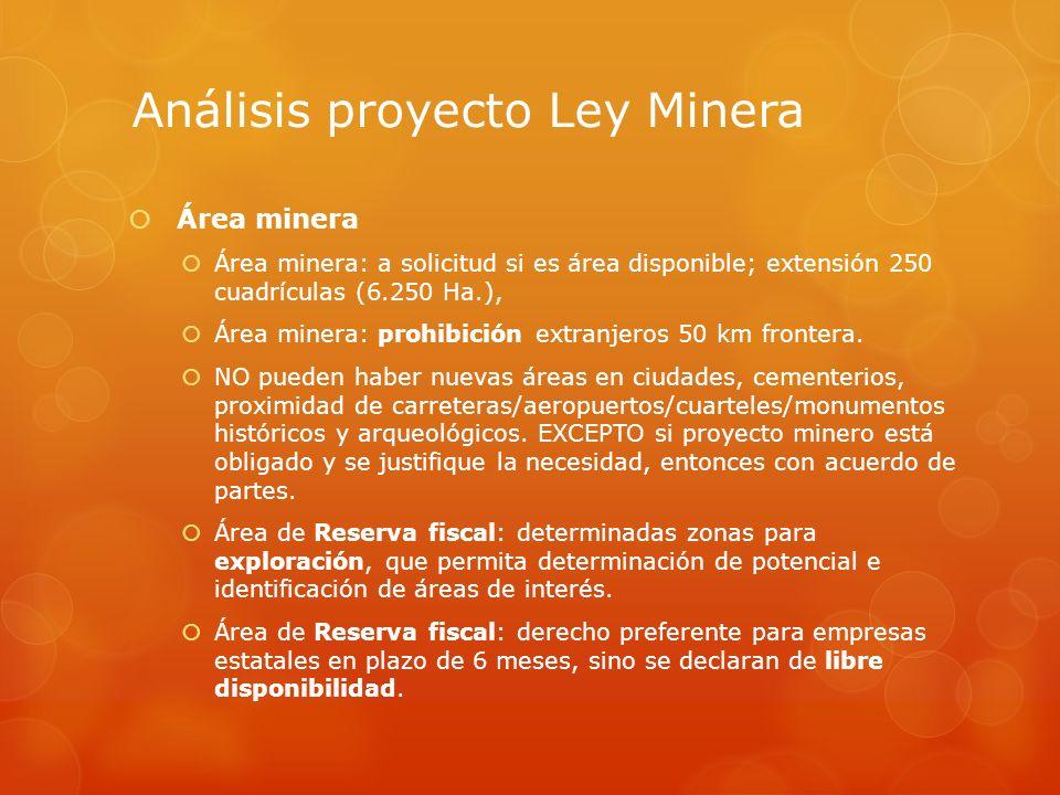 Análisis proyecto Ley Minera Área minera Área minera: a solicitud si es área disponible; extensión 250 cuadrículas (6.250 Ha.), Área minera: prohibici