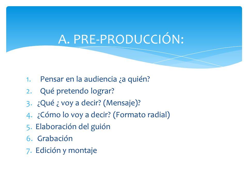 A.PRE-PRODUCCIÓN: 1.Pensar en la audiencia ¿a quién.