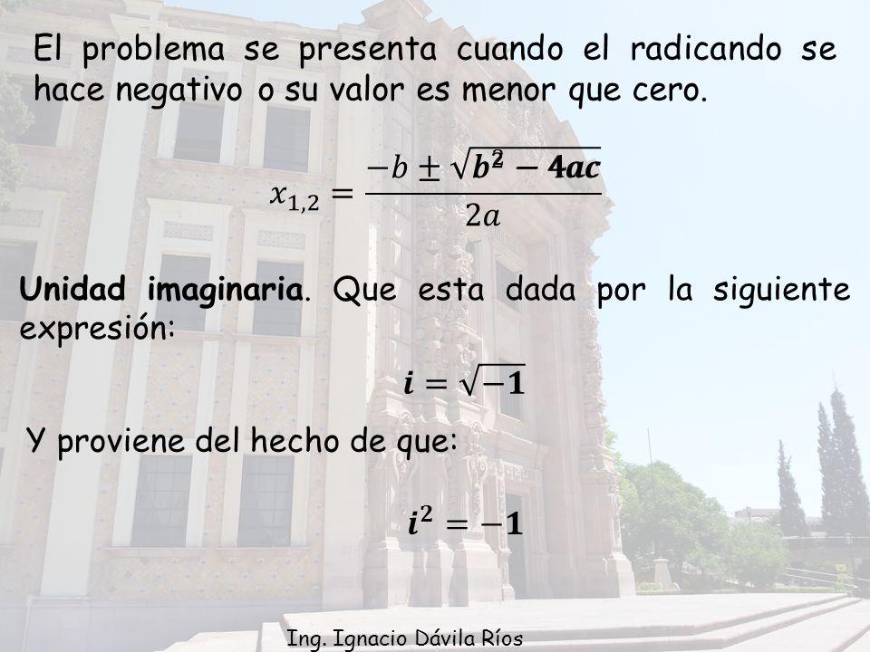 El problema se presenta cuando el radicando se hace negativo o su valor es menor que cero.