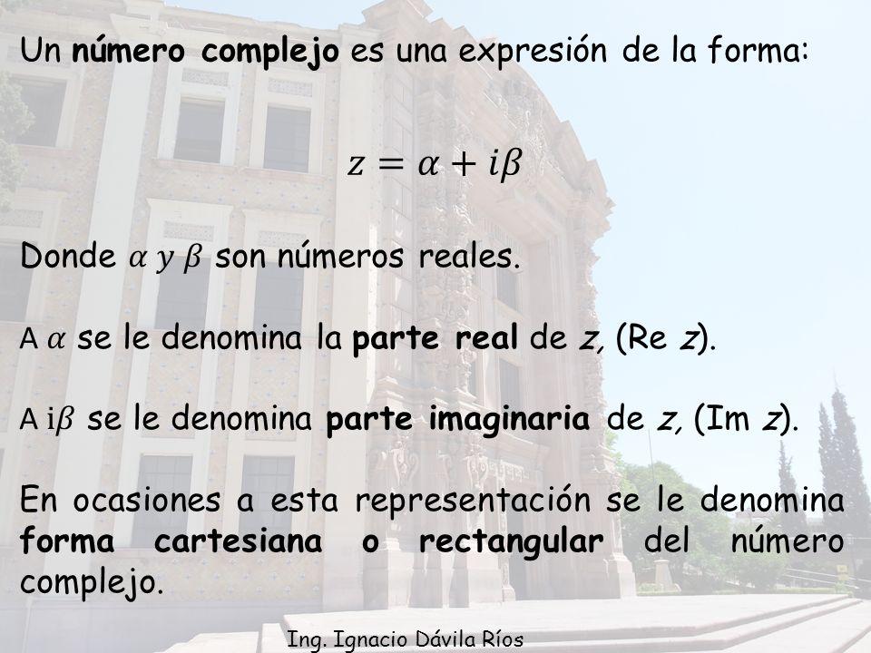 Un número complejo es una expresión de la forma: Ing. Ignacio Dávila Ríos