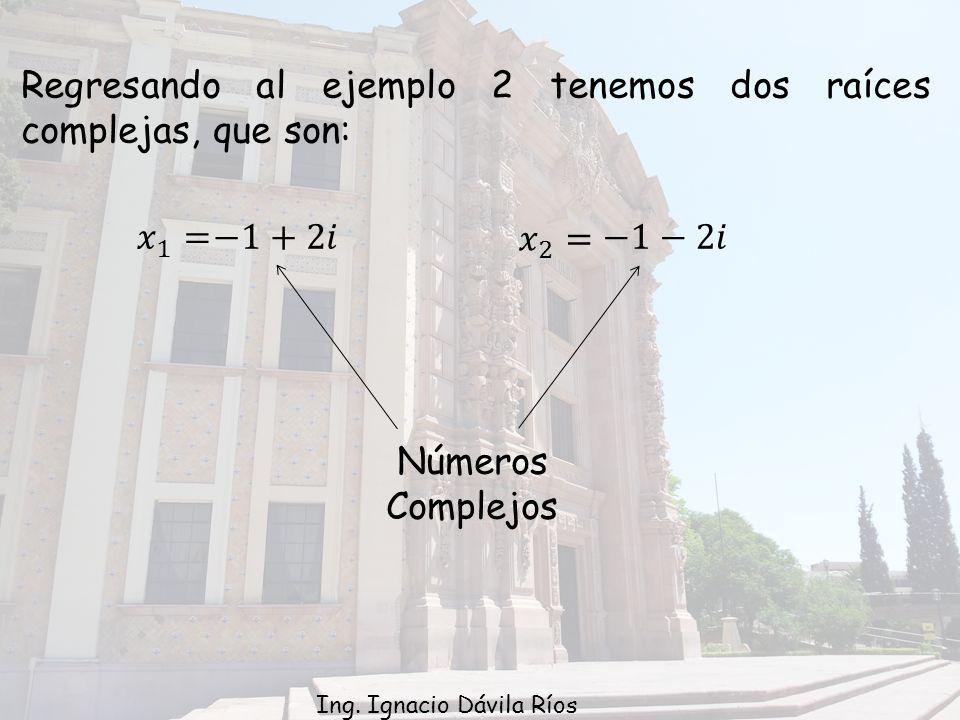 Regresando al ejemplo 2 tenemos dos raíces complejas, que son: 1 Números Complejos Ing.