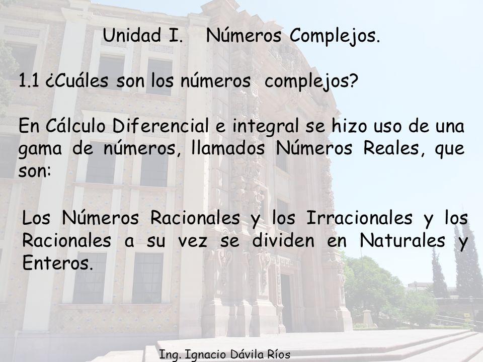 Unidad I.Números Complejos. 1.1 ¿Cuáles son los números complejos.