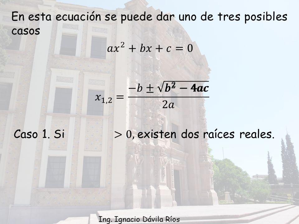 En esta ecuación se puede dar uno de tres posibles casos Ing. Ignacio Dávila Ríos