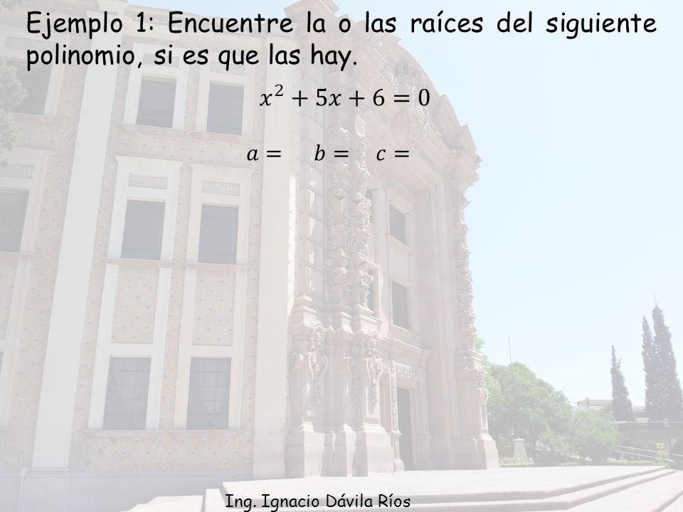 Ejemplo 1: Encuentre la o las raíces del siguiente polinomio, si es que las hay.