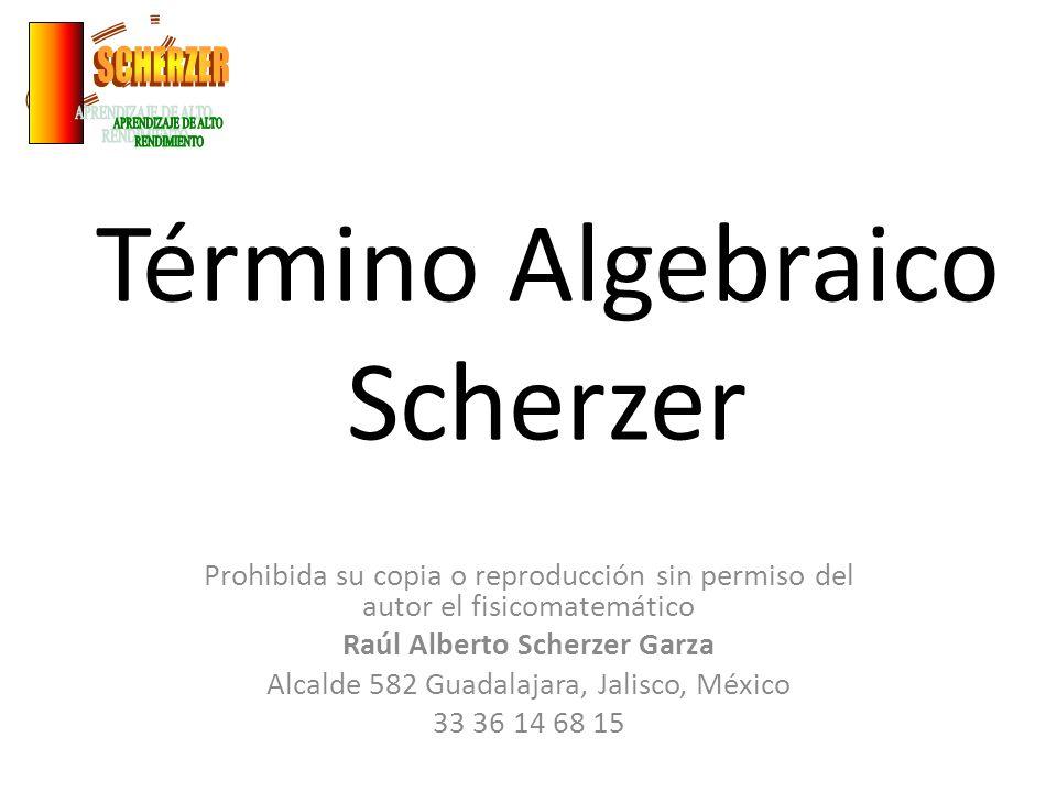 Término Algebraico Scherzer Prohibida su copia o reproducción sin permiso del autor el fisicomatemático Raúl Alberto Scherzer Garza Alcalde 582 Guadal