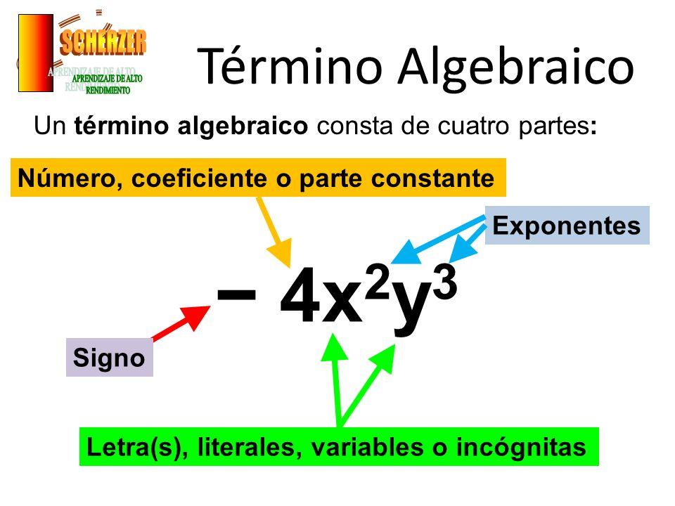 Término Algebraico Un término algebraico consta de cuatro partes: 4x 2 y 3 Signo Número, coeficiente o parte constante Letra(s), literales, variables