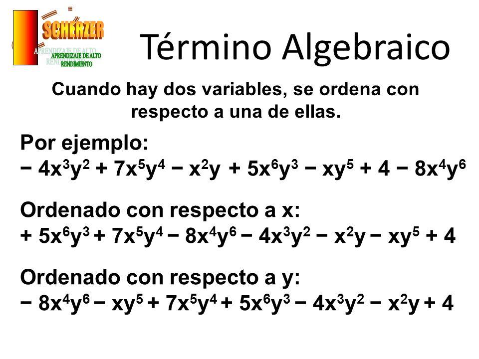 Término Algebraico Cuando hay dos variables, se ordena con respecto a una de ellas. Por ejemplo: 4x 3 y 2 + 7x 5 y 4 x 2 y + 5x 6 y 3 xy 5 + 4 8x 4 y
