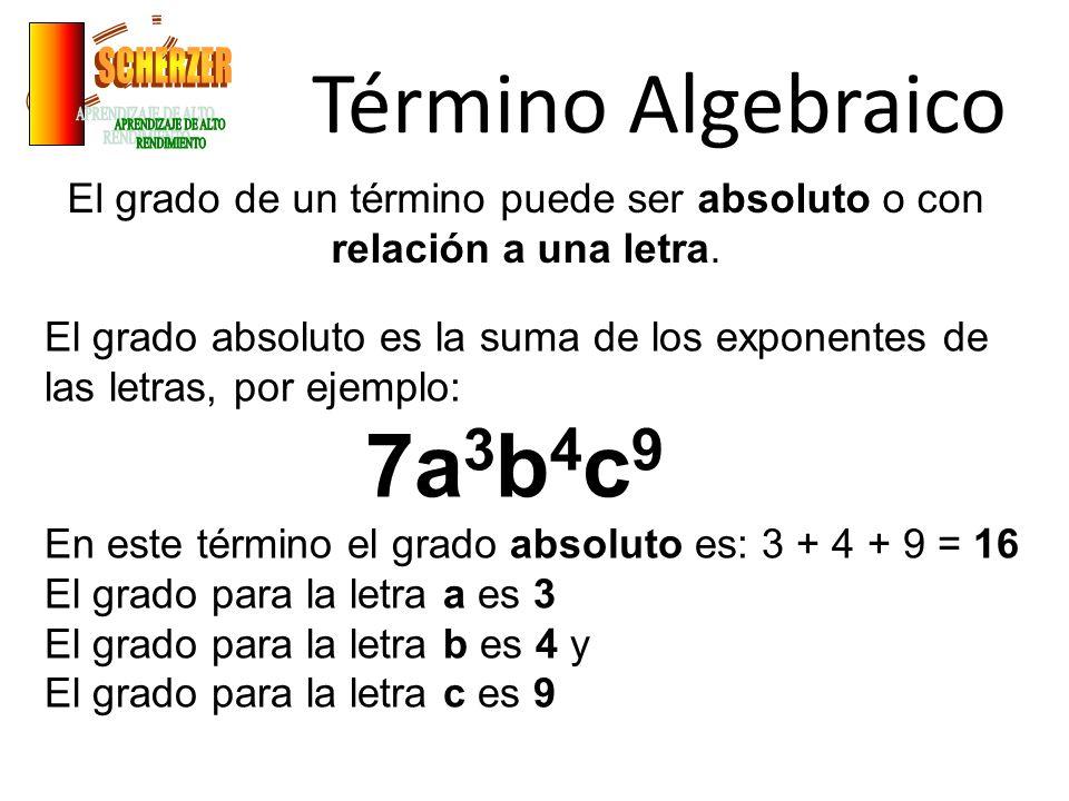 Término Algebraico El grado de un término puede ser absoluto o con relación a una letra. El grado absoluto es la suma de los exponentes de las letras,