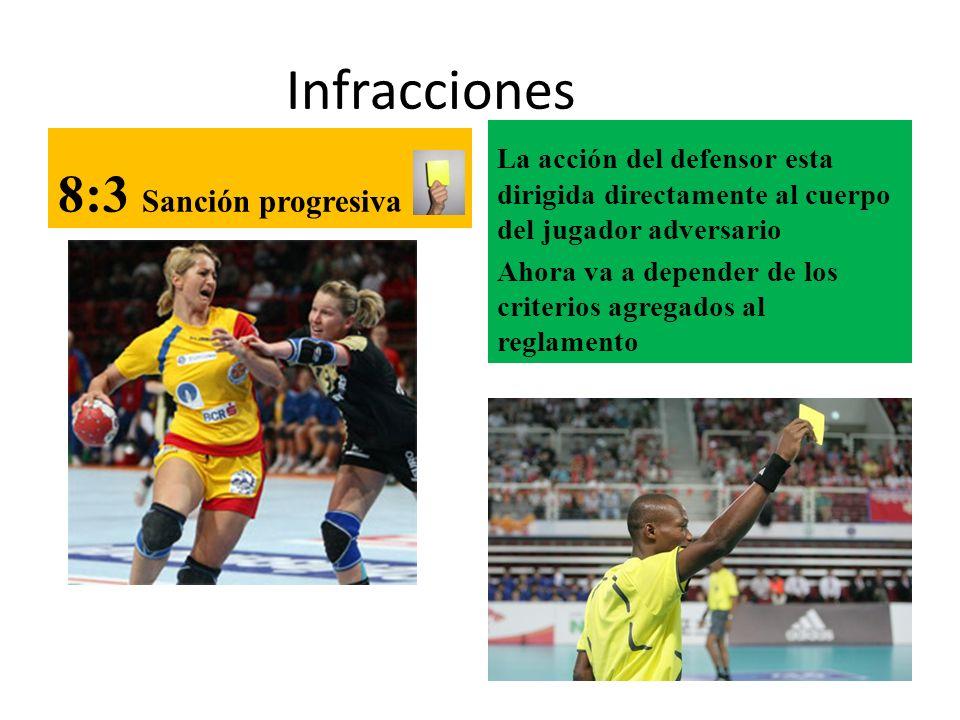 Infracciones 8:3 Sanción progresiva La acción del defensor esta dirigida directamente al cuerpo del jugador adversario Ahora va a depender de los crit