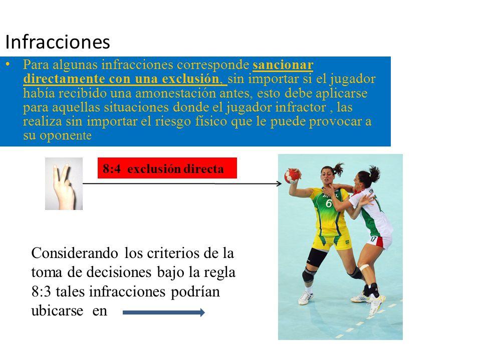 Infracciones Para algunas infracciones corresponde sancionar directamente con una exclusión, sin importar si el jugador había recibido una amonestació