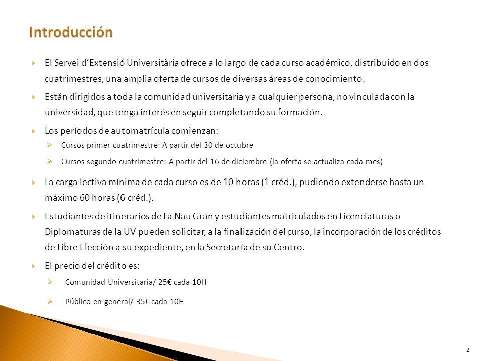 El Servei dExtensió Universitària ofrece a lo largo de cada curso académico, distribuido en dos cuatrimestres, una amplia oferta de cursos de diversas áreas de conocimiento.