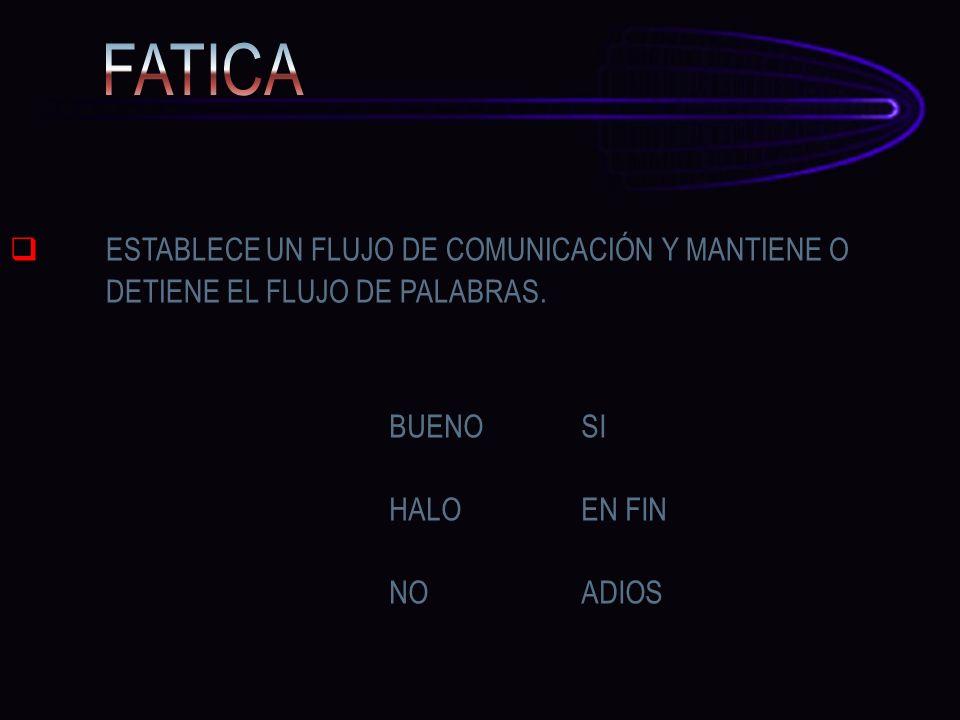 ESTABLECE UN FLUJO DE COMUNICACIÓN Y MANTIENE O DETIENE EL FLUJO DE PALABRAS. BUENO SI HALOEN FIN NOADIOS